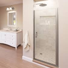 42 in x 78 in frameless glass hinged shower door in brushed