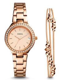 rose gold womens bracelet images Fossil blane crystals womens rose gold watch bracelet set jpg