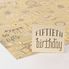gold foil wrap gold foil age 50 luxury wrapping paper gift tag only 69p