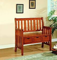 Oak Storage Bench Amazon Com Mission Bench With Storage Solid Oak Wood Amish