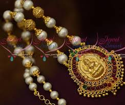 pearls necklace online images Nl10744 shell pearls jewellery beaded gold plated floral cap JPG