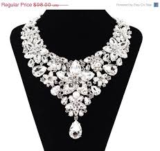 crystal rhinestone necklace images On sale crystal rhinestone floral bib bridal statement necklace jpg