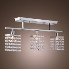 Ceiling Mounted Lights 3 Light Hanging Crystal Linear Chandelier With Fixture Modern