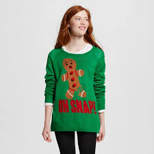 s oh snap gingerbread sweater green