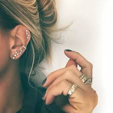 left side earring 14k gold and diamond earring to be worn on your left side 45