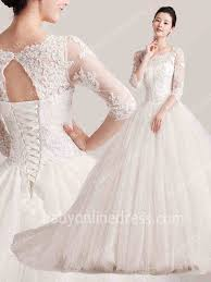 lace 3 4 sleeve wedding dress 2018 fall bridal dresses square 3 4 length sleeve lace appliques