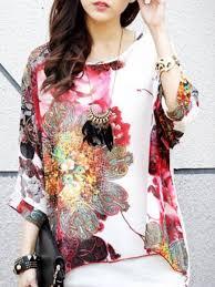 sleeve chiffon blouse large size batwing sleeve watercolor painting chiffon blouse