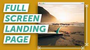 cara membuat website via html how to make a full screen landing page html css youtube