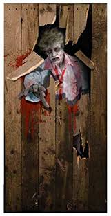 scary zombie plastic door cover large wall halloween decorations