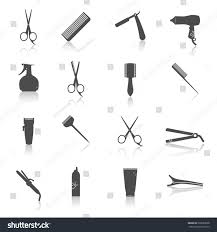 hairdresser styling accessories professional haircut icon stock