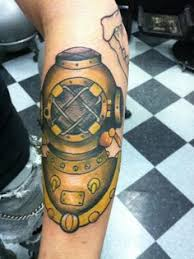 tattoo old traditional nautic ink helmet dive mask