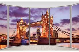 mural window view tower bridge in london in purple wall mural window view tower bridge in london in purple