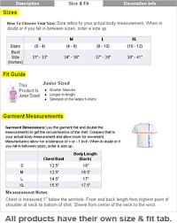 custom clothing size charts