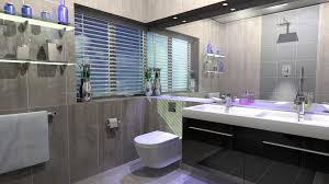 grey tiles wall themes with white toilet bowl and black vanity