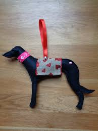 hand made black felt greyhound whippet lurcher type dog hanging