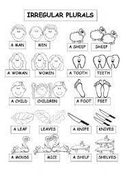 esl kids worksheets irregular plurals