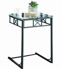 Powell Black Glass Top Side Metal Sofa Table With Glass Top Foter
