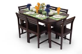 Wooden Dining Chairs Online India Buy Large Stylish Dining Table Set Online Wooden Dining Set For 6