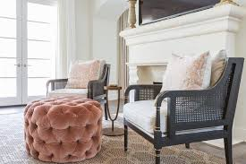 Black Chair With Ottoman Black Cane Chairs With Round Pink Velvet Tufted Ottoman
