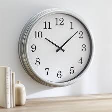 wall clocks galvanized wall clock in clocks reviews crate and barrel