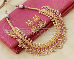 pink coloured beads necklace images Beautiful gold plated designer ruby colour necklace set jpg