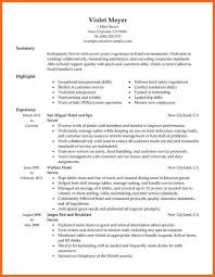 Server Resumes Samples by Restaurant Server Resume Experience Food Service Waitress Waiter