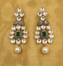 karigari earrings gold plated kundan earrings south india jewels