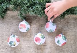 diy decoupaged floral ornaments design sponge