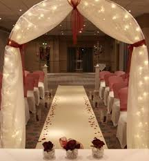 Wedding Arches Using Tulle Draped Wedding Arch With Lights Wedding Decor Pinterest
