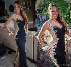 2015 breathtaking black prom dresses with v neck sheer sides cut