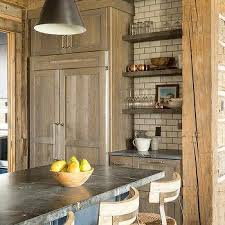 Rustic Oak Kitchen - rustic wood floating shelves design ideas