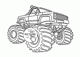 monster truck big wheels coloring page for kids transportation