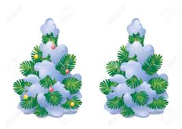 vector illustration a snow covered small christmas tree