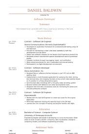 Sample Resume For Software Engineer Experienced by Download Database Test Engineer Sample Resume