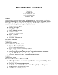 cover letter administrative objective for resume administrative
