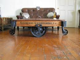 antique towsley factory cart railroad industrial coffee table