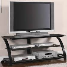 Modern Tv Stand Furniture by Black Tempered Glass U0026 Metal Base Modern Tv Stand W Shelves
