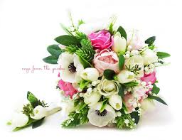 of the valley bouquet bouquet anemones of the valley peonies tulips roses