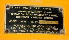 1978 champion 715 motor grader item b6862 sold thursday