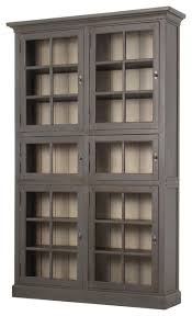 6 Bookcase Geoff Industrial Loft Dark Brown Square Grid 6 Door Wooden