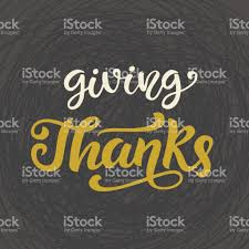 giving thanks thanksgiving day lettering stock vector