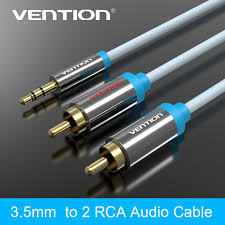 aliexpress buy hot gold plated 5mm 3 5mm tungsten vention brand 2rca to 3 5mm aux cable gold plated 3 5 rca