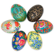 wooden easter eggs 3 set of 6 floral theme ukrainian wooden easter eggs bestpysanky