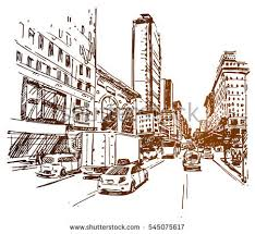 new york 5th ave sketch stock vector 545075617 shutterstock