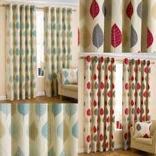 leaves print ready made eyelet curtains red u0026 duck egg ebay
