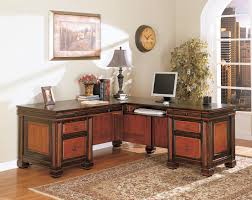 Home Office Desks Wood L Shaped Clear Coating Maple Wood Office Table With Drawers Using