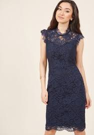 sheath dress mock neck lace sheath dress in navy modcloth