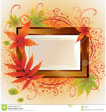 vector gold frame with autumn leafs thanksgiving stock vector