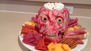 Cold Halloween Appetizers by Halloween Animatronic Meathead Appetizer Tray Youtube