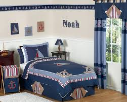 Nautical Bed Set Jojo Blue White Nautical Sail Boat Boy Kid Sized